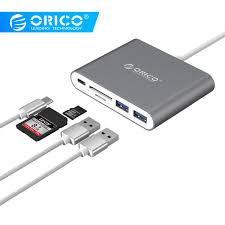 <b>ORICO Aluminum</b> Type C to TF SD Card Reader with 2 USB3.0 ...