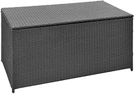 vidaXL <b>Garden Storage Chest Poly</b> Rattan Black Bench Cabinet Box ...