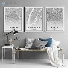 <b>Black</b> and <b>White World City</b> Map Paris London New York Poster ...