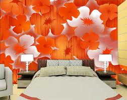 Orange Bedroom Wallpaper Popular Orange Flower Wallpaper Buy Cheap Orange Flower Wallpaper
