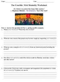 images about the crucible on pinterest   salem witch trials    the crucible mob mentality worksheet  one of  pages  http