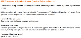 list of courses vocational rsa academy btec national in applied science medical science edexcel