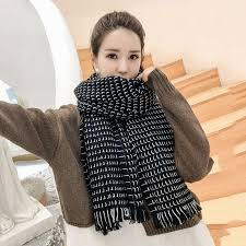 New Autumn Winter <b>Female Wool</b> Black/White <b>Plaid Scarf Women</b> ...