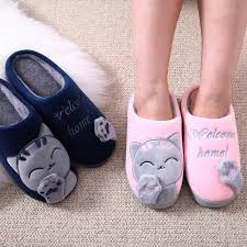 <b>Women Slippers</b> 3D Embroidery Cat <b>Winter</b> Warm Plush <b>Shoes</b> ...