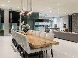 modern wood dining room sets: wood dining table modern lights and neutral dining room chairs