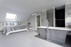 Loft Conversion Bedroom Design Hip To Gable Dormer Conversion With Freestanding Bathtub In