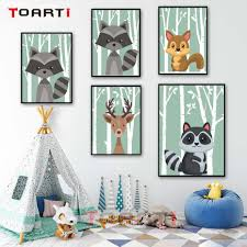 Forest <b>Cartoon Animals</b> Posters Squirrel Deer Cat <b>Canvas</b> Painting ...