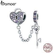 BAMOER <b>Romantic 925 Sterling Silver</b> Lock Key of Heart Pink CZ ...