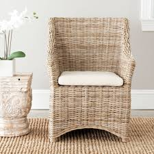 size wicker dining chairs arms
