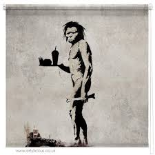 <b>Banksy fast food caveman</b> blind | Picture printed Blinds at Artylicious