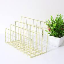 BY Wrought <b>Iron Metal Three Grid</b> Bookshelf Creative Book Stand ...