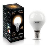 <b>Лампа</b> светодиодная Gauss Шар G45 E14 4W(370lm) 4100 95x48 ...