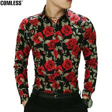 Camisa Masculina <b>2018 New Spring</b> Flower Printed Shirt Men Long ...