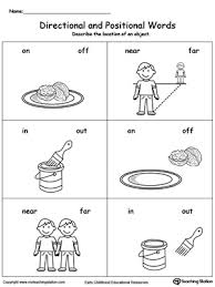 Preschool Position and Direction Printable Worksheets ...Directional and Positional Words