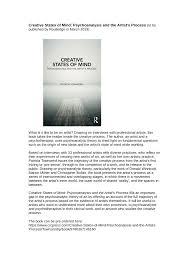 (PDF) <b>Creative States of Mind</b>: Psychoanalysis and the Artist's Process