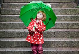 Pic of girl in rain with umbrella