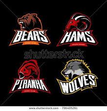 разъяренный медведь, волк, баран и концепции логотипа ...