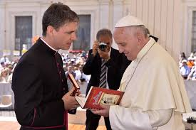 Image result for Pope Francis presented with his book in Belarusian translation