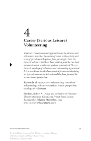 career serious leisure volunteering springer leisure and the motive to volunteer theories of serious casual and project