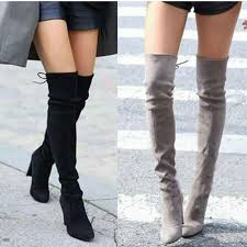 Women Thigh High <b>Boots Fashion Suede Leather</b> High Heels Lace ...