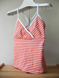 <b>NEW</b> Marika <b>Sexy Stripe</b> Criss Cross Coral <b>Orange</b> White Cotton ...