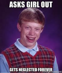 Asks girl out gets neglected forever - Bad luck Brian meme | Meme ... via Relatably.com