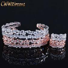 CWWZircons Adjustable Size Rose Gold Color Bracelet Bangle ...