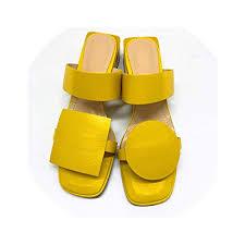 2019 <b>New Summer</b> Shoes <b>Women</b> Slippers Pu Leather 4.2Cm ...