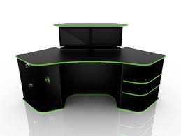 corner computer desk for gaming black color with green strip colored corner desk armoire