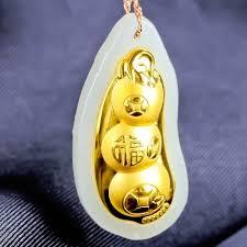 <b>XinJiang</b> Hetian Jade Peaceful bean Pendant <b>Drop Shipping</b> Gold ...