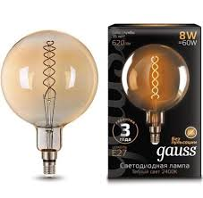 <b>Лампа Gauss</b> LED <b>Vintage</b> Filament Flexible G200 8W E27 Golde