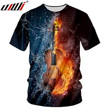 <b>UJWI</b> Summer Tops Tees 3D Printed Violin T Shirts Casual Men ...