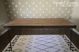take a look at this awesome diy rustic industrial desk using thrifted hairpin legs and upcycled build rustic office desk