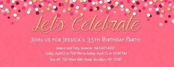 Birthday Milestones free online invitations Confetti Pink Invitation