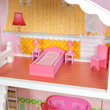 large childrens wooden dollhouse fits barbie doll house pink with furniture previous brand baby wooden doll house