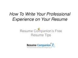 how to write your professional experience on your resumehow to write your professional experience on your resume resume companion    s free