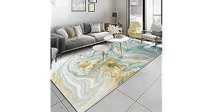 Nordic Style <b>Abstract Stone Pattern</b> Light Green Gold Carpet Rugs ...