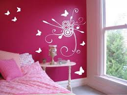 gorgeous bedroom wall decor design with pink color along white butterfly sticker and bedding also pillow bedroom furniture beautiful painting white color