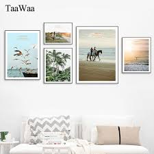 Landscape Canvas Poster <b>Palm Tree</b> Horse Seagull Sunset Sea ...