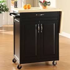 leaf kitchen cart: black finish kitchen cart with drop leaf  fold up