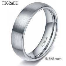 <b>Tigrade</b> 4/6/<b>8mm</b> Brushed Simple Silver Titanium <b>Ring Men</b> High ...