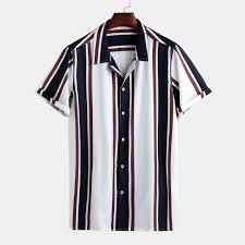 <b>Mens Summer</b> Hit Color Striped Printed Turn Down Collar Short ...