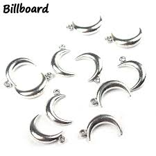 <b>20pcs</b> 18*5MM Retro Zinc Alloy Silver Moon Shape Charms ...
