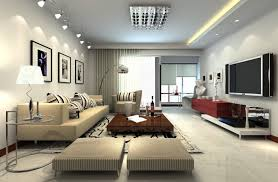 living room awesome ceiling lights with large wall mounted tv and leather sofa with stripes awesome large living room