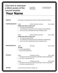 resume  free good resume writing templates free resume cover        resume  sample cv resume template in simple ms word with objective  teaching experience