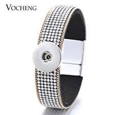<b>10PCS</b>/Lot Vocheng <b>18mm Soft</b> Fabric White Crystal Magnet Charm ...