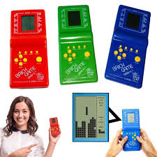 classic handheld game machine tetris brick kids with music playback without battery