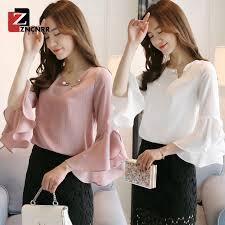 Ready Stock <b>Korean Fashion</b> Trumpet White Sleeve <b>Chiffon</b> Loose ...
