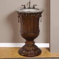 traditional style antique white bathroom:  inch single bathroom vanity with baltic brown granite