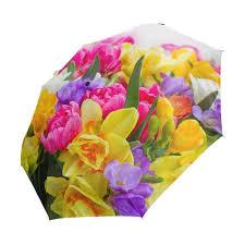 Bright-colored <b>Flowers</b> Printed Automatic <b>Umbrella</b> Anti-<b>UV</b> fully ...